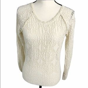 Free People Tops - free people cream lace blouse S long sleeve